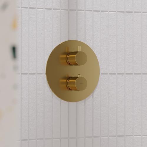 Термостат для ванны Omnires Y на 2 режима, встраиваемый, золото брашированное