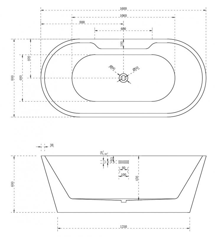 Акриловая ванна ABBER  150*70, 160*80, 170*80