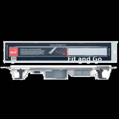Водоотводящий желоб AlcaPlast APZ13 Double 9, стальной, с решеткой-перевертышем (тип затвора сухой и мокрый)