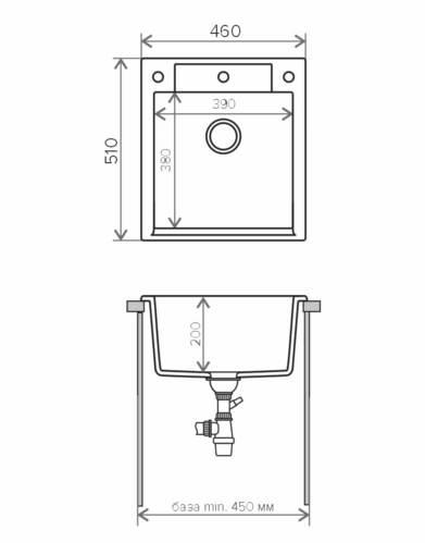 Кухонная мойка Polygran ARGO-460 (№16 черный)