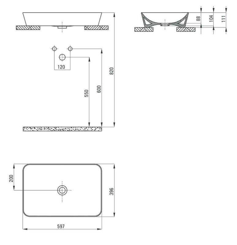 Умывальник Deante TESS 600*400 мм на столешнице с напольной консолью 665*500 мм
