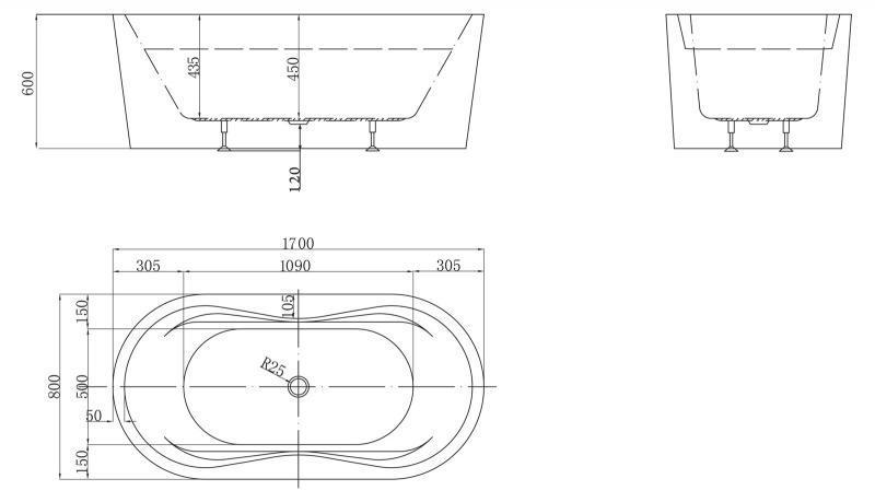 Акриловая ванна Belbagno 1700x800x600 слив-перелив бронза