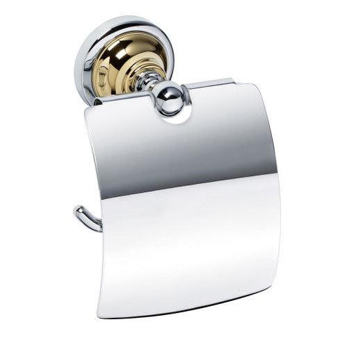 ДЕРЖАТЕЛЬ туалетной бумаги С КРЫШКОЙ Bemeta RETRO, хром/золото