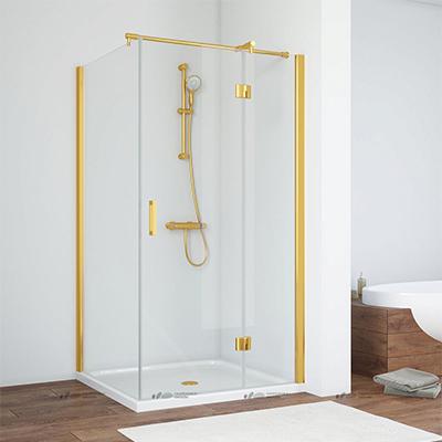Душевой уголок Vegas Glass  профиль золото, стекло прозрачное 110*90