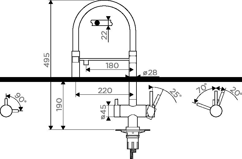 Смеситель с подключением под фильтр OMOIKIRI Kanto