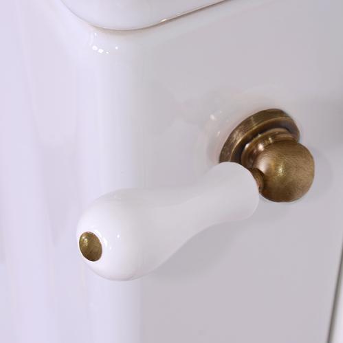 KERASAN Retro Унитаз напольный слив в стену, цвет белый с низким бачком, с боковой ручкой справа, с фурнитурой цвета бронза, СИДЕНЬЕ НА ВЫБОР