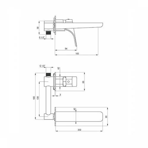 Deante Hiacynt Смеситель для раковины скрытого монтажа, хром