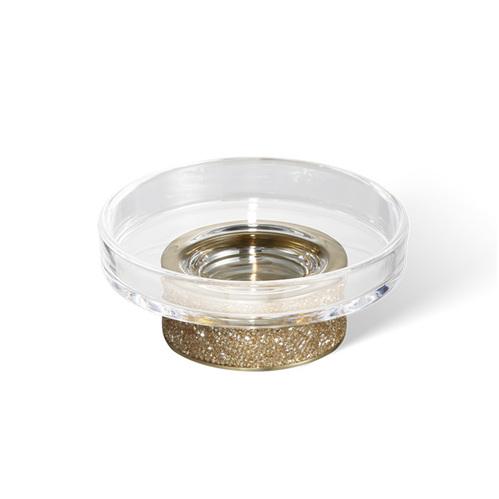 Decor Walther Rocks STS Мыльница настольная, прозрачное стекло, с кристаллами Swarovski, цвет: золото матовое