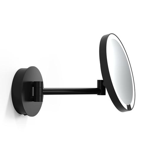 Decor Walther Round Just Look WR Косметическое зеркало 21.5см, подвесное, 5x, подсветка LED, цвет: черный матовый