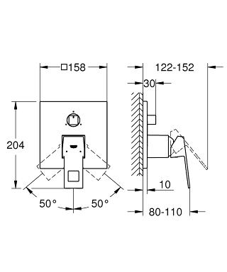 Смеситель скрытого монтажа Grohe Eurocube с переключателем на 3 положения