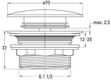 Донный клапан DEANTE Click-Clack для поддона и ванны