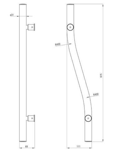 Поручень Deante VITAL стальной настенный декоративный 615 мм