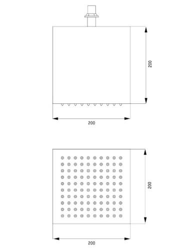 Верхний душ потолочный квадратный DEANTE CASCADA SQUARE 200*200 мм, хром