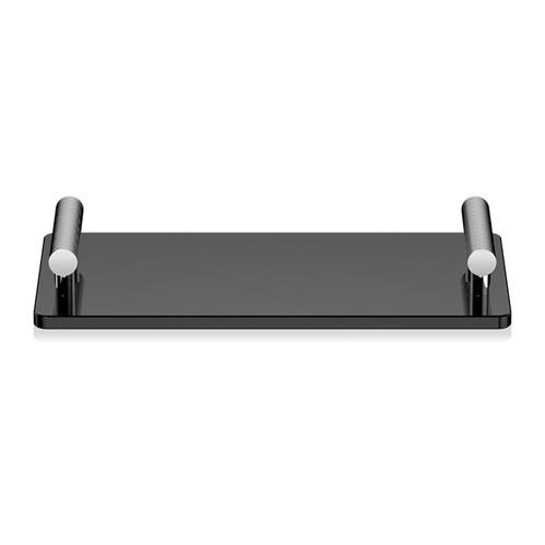 Decor Walther Club Tab Поднос с ручками, стеклянный, цвет: хром / черное стекло