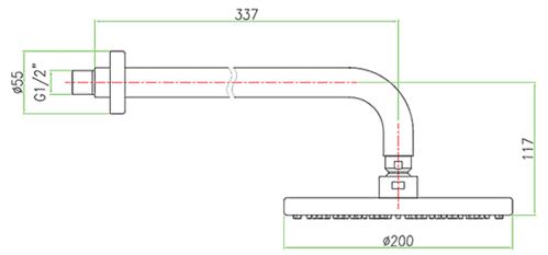 Лейка верхнего душа Fiore, с держателем, 20x20 см