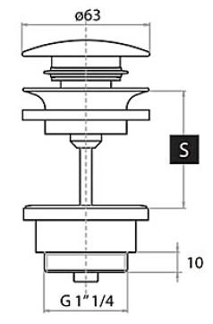Клапан Fiore Click-Clack, для раковин без отверстия перелива