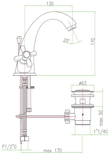 Смеситель для раковины Fiore Margot с донным клапаном, бронза