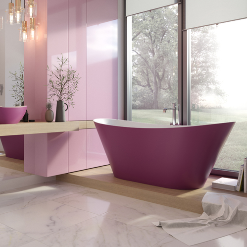 Ванна каменная Holbi Afina Solid Surface 1610*660 (white/pink)