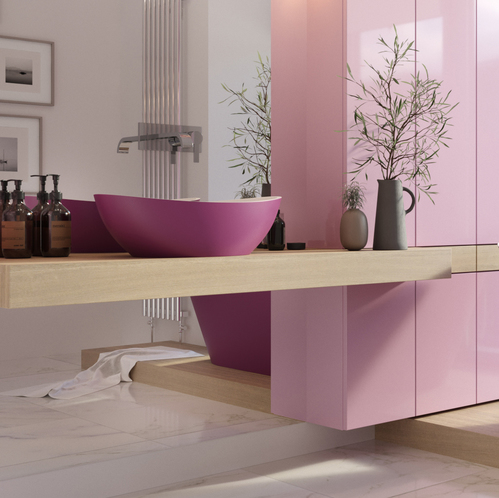 Раковина Holbi Europe, 55x34, из Solid Surface (white/pink)