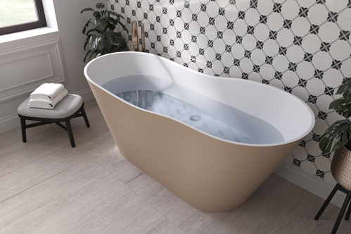 Ванна каменная Holbi Afrodita Solid Surface 161*68 (white/beige)