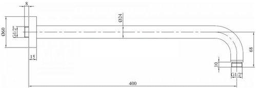 Кронштейн Paffoni Light для верхнего душа (белый матовый) 40см