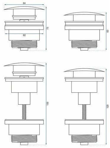 Донный клапан Rea с системой Klik-Klak белый матовый, универсальный