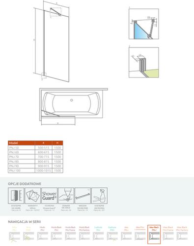 Шторка на ванну Radaway Idea Black PNJ Frame 70