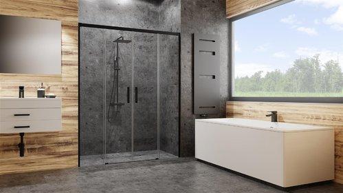 Душевая дверь Radaway Idea DWD, H-200 см чёрный профиль