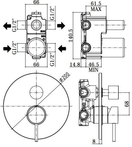 Смеситель для душа с внутренней частью Paffoni Light на 3 режима (белый матовый)