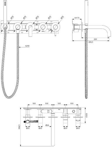 Omnires Y смеситель для ванны на 5 отверстий встроенный, хром