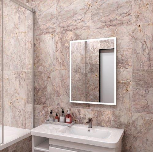 Зеркало Континент Frame Silver Led 60x80, с подсветкой, сенсор, серый