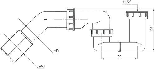 Полусифон DEANTE  для ванны и поддона
