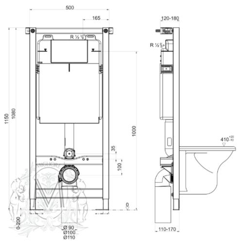 Migliore BETTER NORM Сист. инсталляции h1150x500 мм. д/подв. WC (крепление стена-пол, без кнопки)