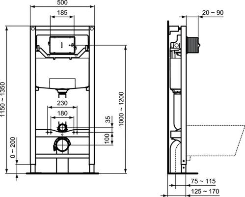 Комплект 5в1: Унитаз Ideal Standard Tesi Aquablade + Сиденье + Инсталляция + Кнопка (Белая)