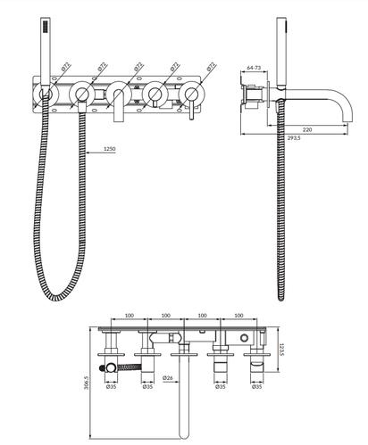 Omnires Y Смеситель для ванны скрытого монтажа на 5 отверстий