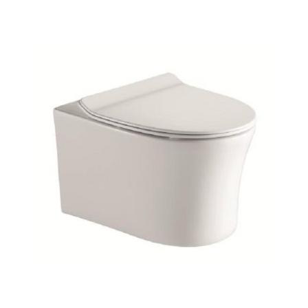 Унитаз CeramaLux 36 x 54 x 36 см подвесной, безободковый, сиденье ультратонкое, Soft Close