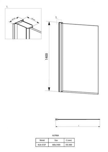 Штора на ванну Deante Alpinia, 80×140 см