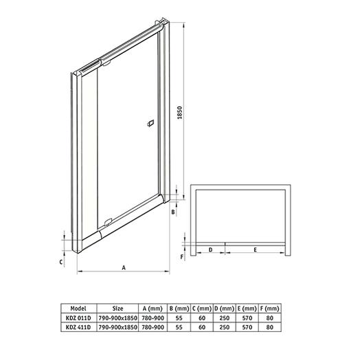 Распашные двери в нишу Deante Zoom, стекло прозрачное