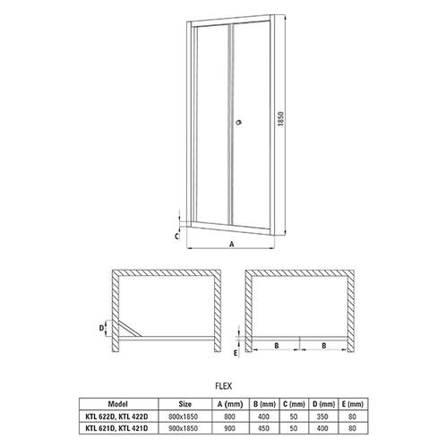 Складывающиеся двери в нишу Deante Flex, стекло графитовое