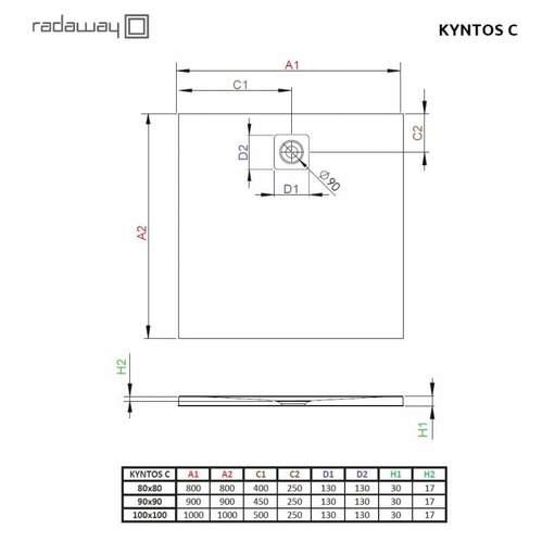 Душевой поддон Radaway Kyntos C 90x90