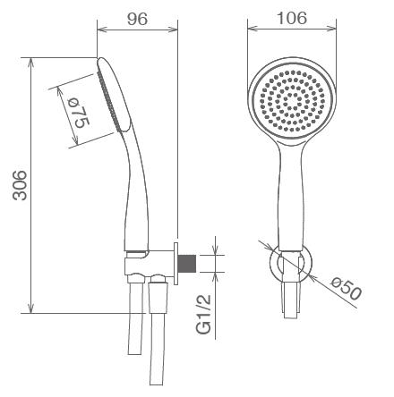 Комплект ручного душа La Torre , на 1 режим