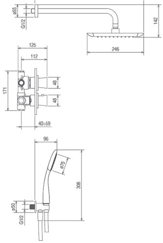 Душевая система La Torre Laghi, скрытого монтажа, на 2 режима, термостат