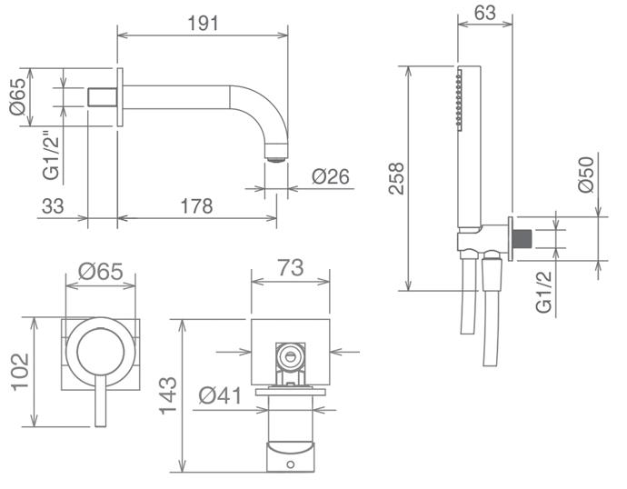 Комплект смесителей La Torre Newtech для ванны, хром