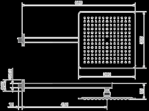 Комплект верхнего душа La Torre, 30x30 см, с держателем