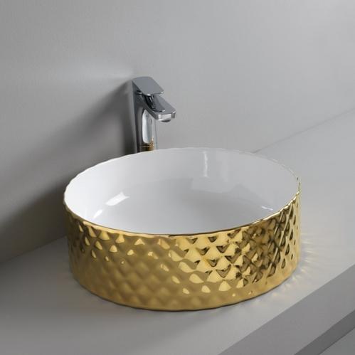 Раковина ArtCeram Rombo настольная Ø 44 см, цвет белый/золото