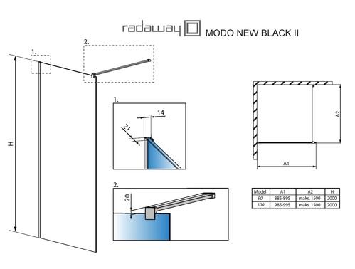 Душевой уголок Radaway Modo II New Black