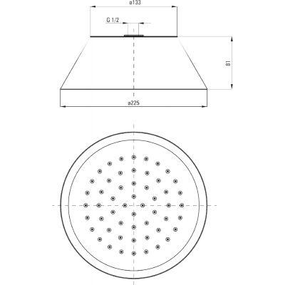 Верхний душ круглый DEANTE CASCADA d=225 мм, хром