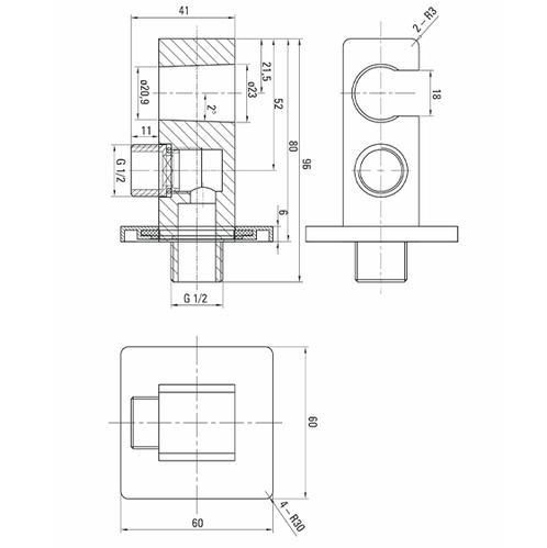Deante Cascada Угловой соединитель с держателем лейки квадратный, хром