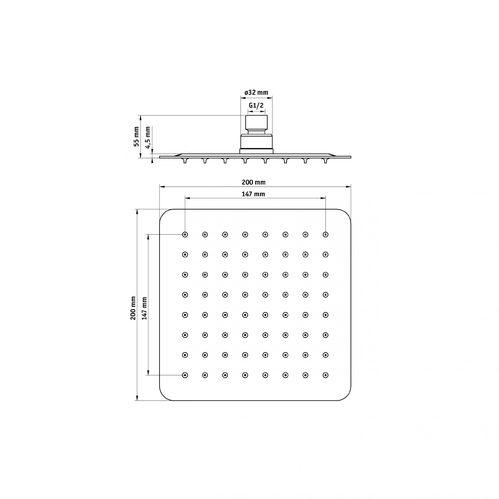 Верхний душ стальной квадратный DEANTE CASCADA FLOX  200*200 мм, белый