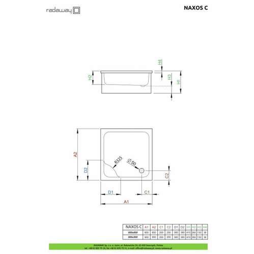 Душевой поддон Radaway Naxos C 90x90